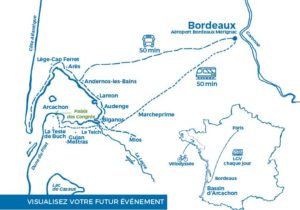 carte bassin d'arcachon tourisme d'affaires - Bassin d'arcachon