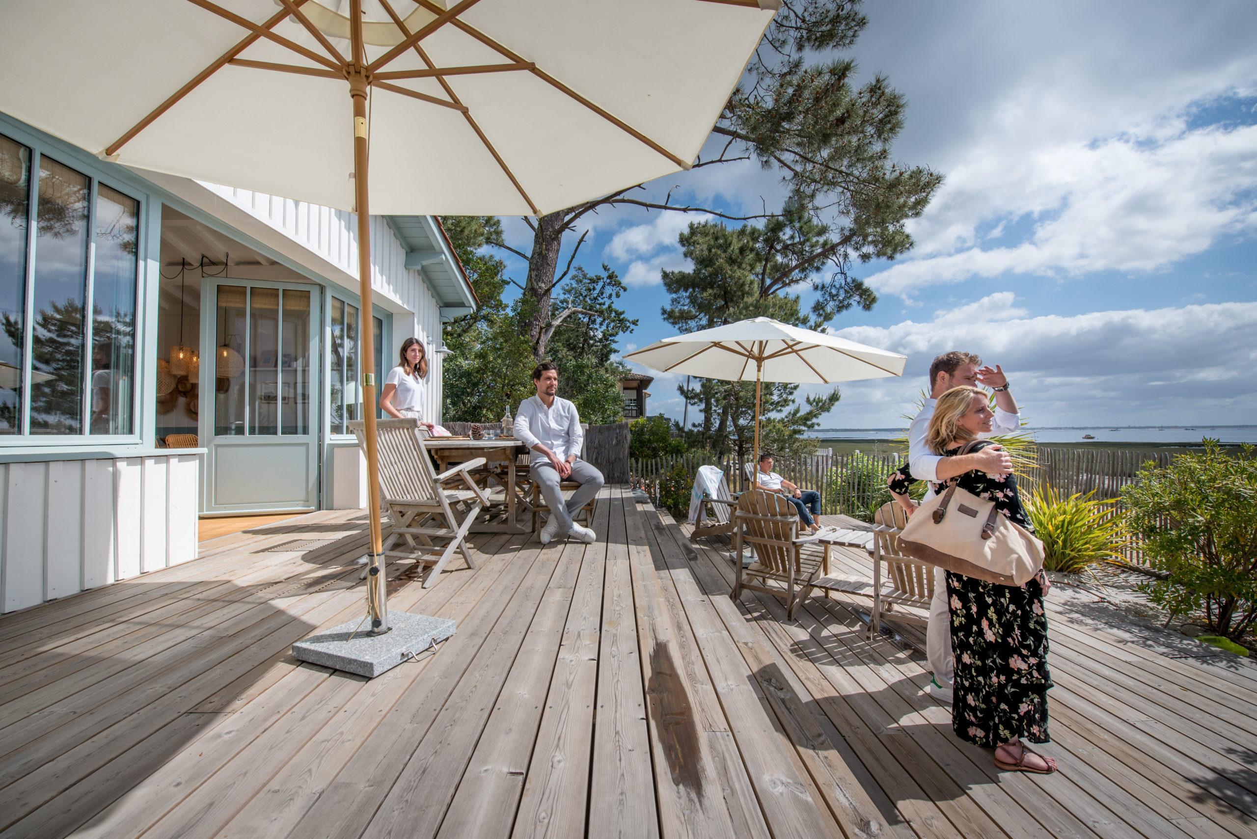 Villa du Cap Ferret avec conciergerie : vue de la terrasse